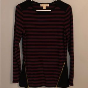 Black and maroon striped tunic top